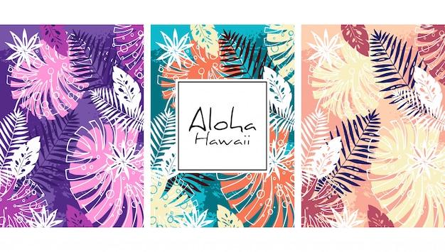 Tropikalnych liści wzór, ręcznie rysowane akwarela wektor ilustracja. wydruk monstera i dłoni. letni projekt.