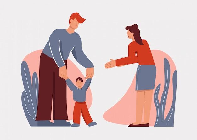 Troskliwi kreskówka rodzice pomaga uczyć się małego dziecko syna chodzą plenerowy odosobnionego na bielu