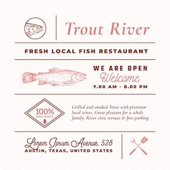 Trout river restauracja znaki, tytuły, napisy i zestaw elementów dekoracji menu.