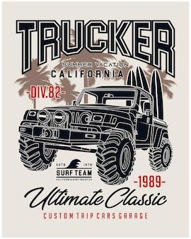 Trucker nieograniczona ilustracja klasycznych samochodów wektorowych do druku