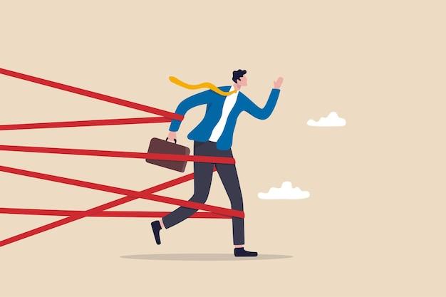 Trudność biznesowa lub walka z ograniczeniem i pułapką przeszkód zawodowych