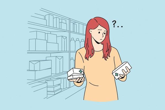 Trudny wybór w koncepcji apteki. młoda sfrustrowana kobieta postać z kreskówki stojąca, próbując wybrać odpowiedni lek w ilustracji wektorowych sklepu aptecznego