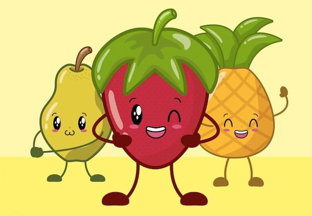 Truskawka, ananas i gruszka uśmiechnięte w stylu kawaii.