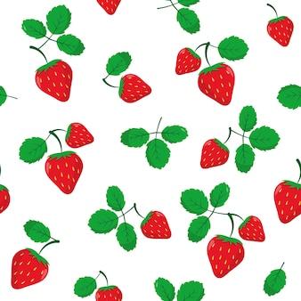 Truskawka bez szwu deseń jagody z liśćmi na białym tle