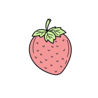 Truskawka. ręcznie rysowane, element graficzny, stylizowany kolor szkicu na białym. prosta ikona lato