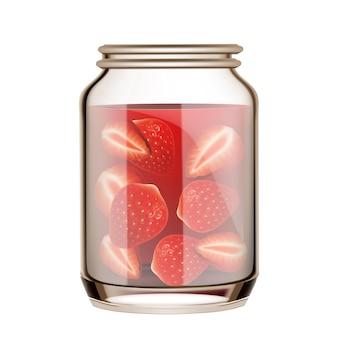 Truskawka w puszkach w pustej szklanej butelce wektor. słoik z witamin naturalnych jagód truskawkowych. szkło z marynowanymi słodkimi dojrzałymi owocami, szablon pysznych deserów realistyczna ilustracja 3d