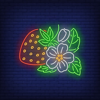 Truskawka z kwiatów i liści neon znak.
