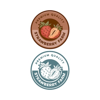 Truskawkowa odznaka jakości premium produkt retro vintage