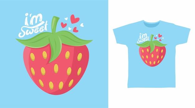 Truskawkowa słodka typografia do projektowania koszulek