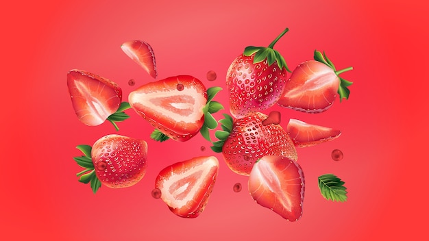 Truskawkowe jagody z liśćmi i kroplami soku rozrzucone są na czerwonym tle. realistyczna ilustracja.