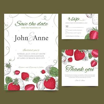Truskawkowe kartki ślubne z owocami