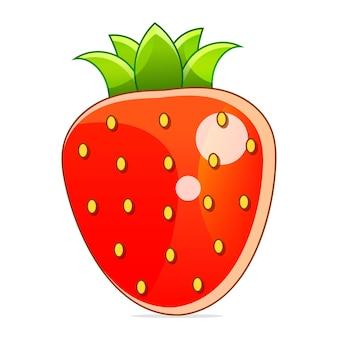 Truskawkowe kolorowe logo. symbol stylu kreskówka truskawka. pojedynczo na białym tle.