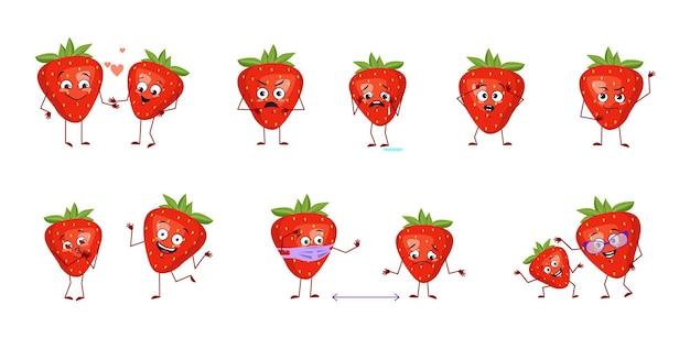 Truskawkowe postacie z emocjami szczęśliwi lub smutni bohaterowie czerwone jagody lub owoce bawią się zakochują się