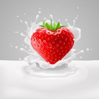 Truskawkowe serce z mlekiem