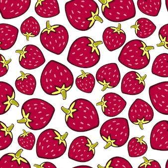 Truskawkowy bezszwowy wzór. wektorowy doodle jagodowy projekt dla tapety, strony internetowej tło