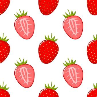 Truskawkowy owocowy bezszwowy wzór.
