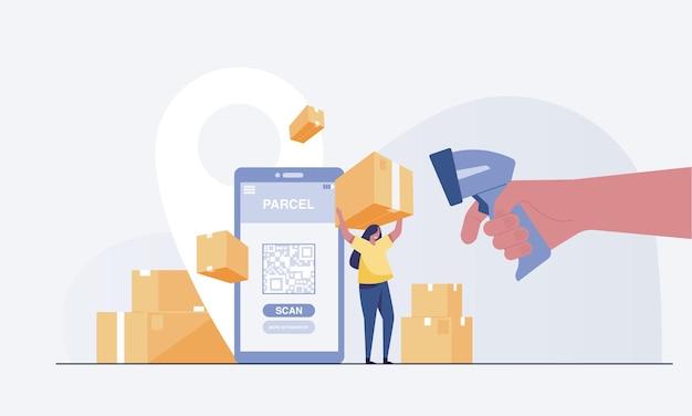Trwa ładowanie skanera kodów kreskowych robotnika i kobieta trzymająca pudełko. vector illustrationarrying pudełko w ciężarówce. oraz aplikacja mobilna do śledzenia dostawy zamówień. ilustracja wektorowa
