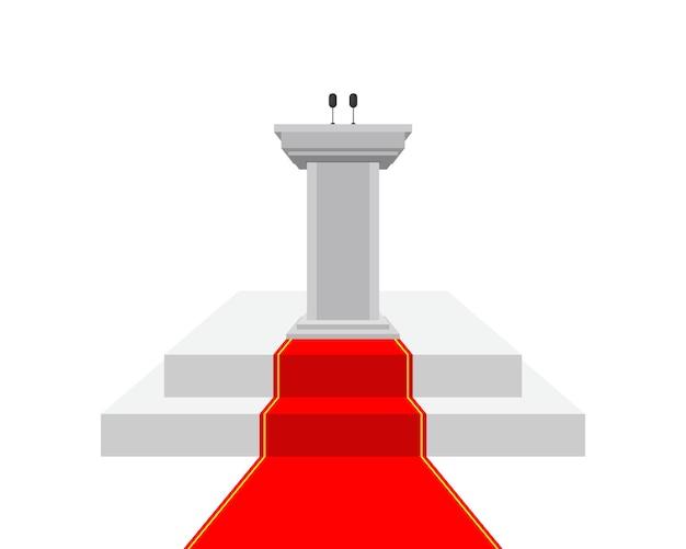 Trybuna na podium z ilustracją czerwonego dywanu