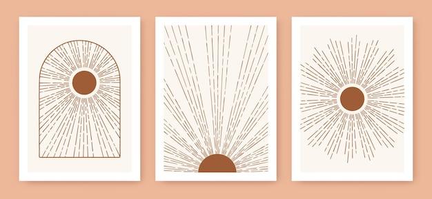 Tryptyk boho słońce minimalistyczna sztuka nowoczesna połowy wieku