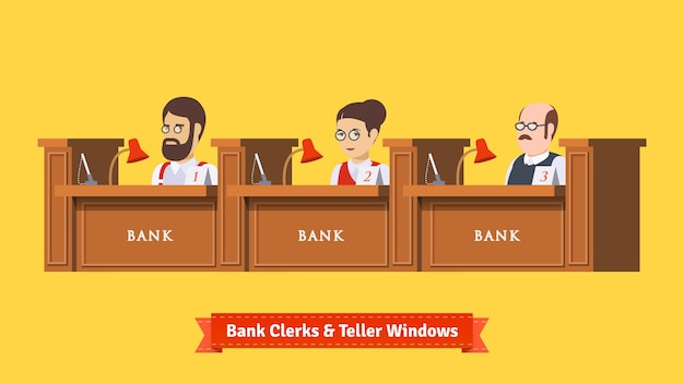 Trzech banków w pracy