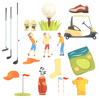 Trzech golfistów grających w golfa w otoczeniu sprzętu sportowego i gry przypisuje ilustracja kreskówka.