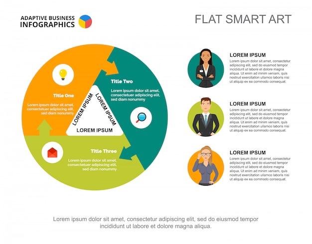 Trzech kolegów przetwarza szablon wykresu do prezentacji. wizualizacja danych biznesowych.