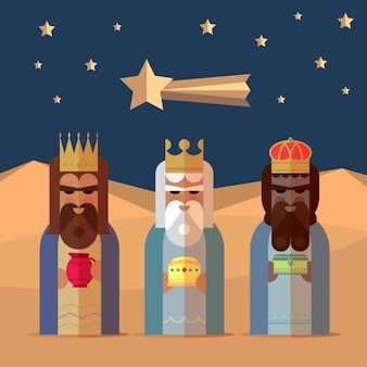 Trzech króli ze stylem płaskiej