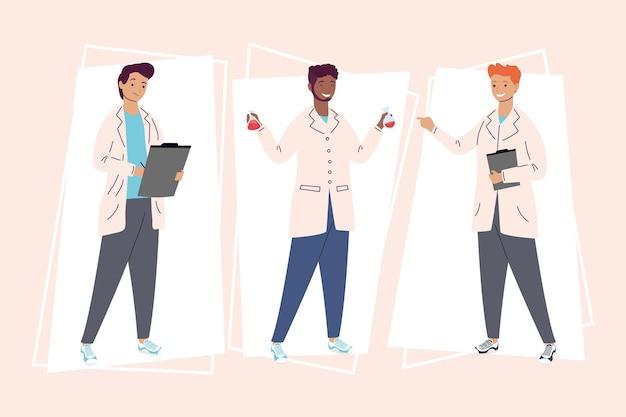 Trzech laboratoryjnych pracowników płci męskiej postaci personelu