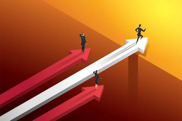 Trzech ludzi biznesu ścigających się na strzałach, ale jedna osoba przejeżdżająca przez most idzie do wzrostu i sukcesu. ilustracja