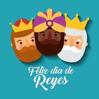 Trzech magicznych królów przynosi prezenty dla jezusa