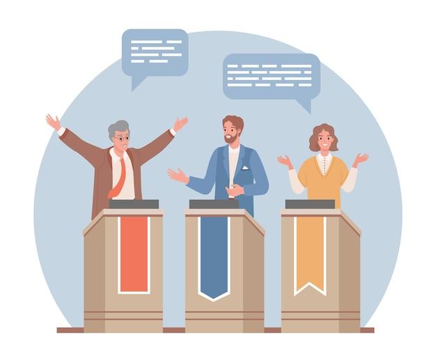 Trzech polityków dyskutujących na trybunach płaskich ilustracji przed wyborami