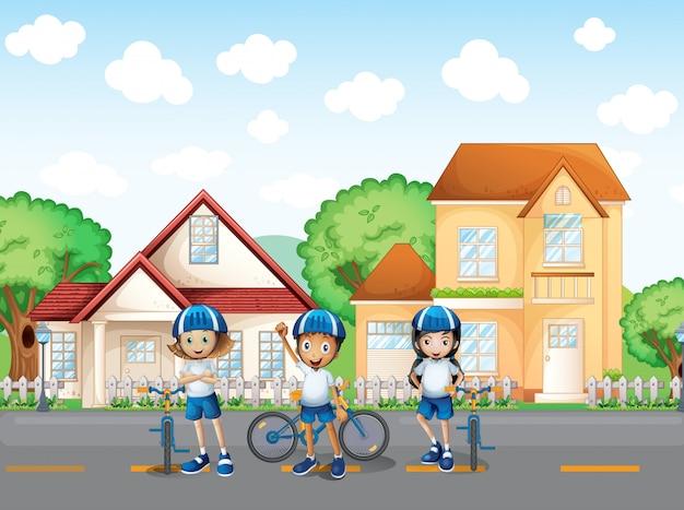Trzech ślicznych rowerzystów na drodze