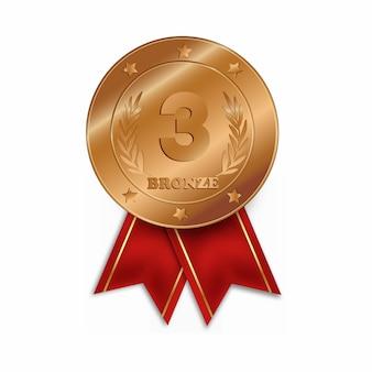 Trzecie miejsce medal na białym tle