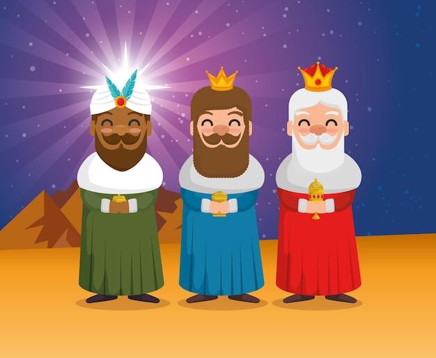 Trzej magiczni królowie z orientalnymi kreskówkami
