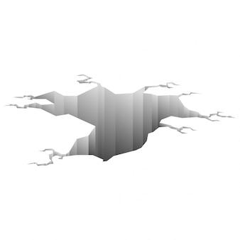 Trzęsienie ziemi. dziura w ziemi z pękaniem i zniszczeniem ziemi pęknięcia na białym tle kreskówka. uszkodzenie łama powierzchnię odizolowywającą na bielu