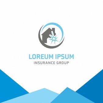 Trzęsienie ziemi home insurance logo szablonu