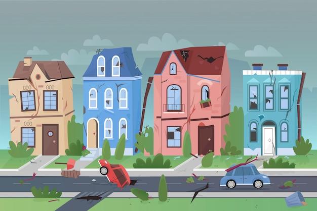 Trzęsienie ziemi natury katastrofa w małego miasta kreskówki wektoru płaskiej ilustraci