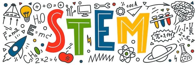 Trzon. nauka, technologia, inżynieria, matematyka. doodles edukacji naukowej i słowo pisane ręcznie