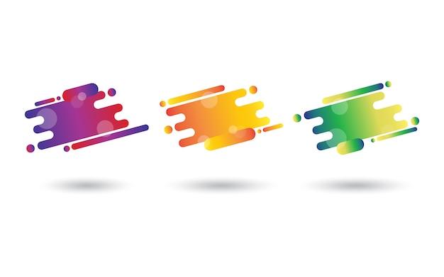 Trzy abstrakcyjne elementy z gradientem jasne kolory w płynnych kształtach dynamicznych.