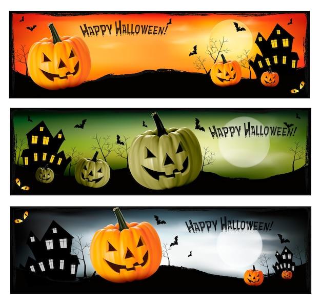 Trzy banery halloween
