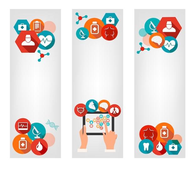 Trzy banery medyczne z kolorowymi ikonami.