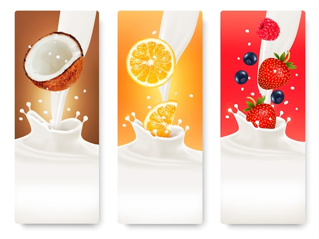 Trzy banery owoców i mleka.