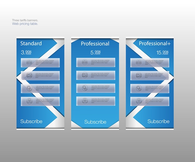 Trzy banery taryfowe. cennik internetowy. dla aplikacji internetowej. cennik. zgrupowane poprawnie.