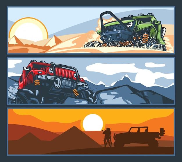 Trzy banery z pojazdami terenowymi o trudnych drogach.