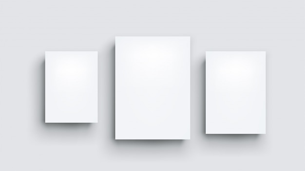 Trzy białe tablice na szaro