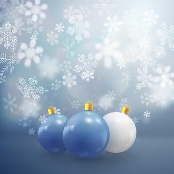 Trzy bombki i płatki śniegu o różnych kształtach płaskich ilustracji wektorowych