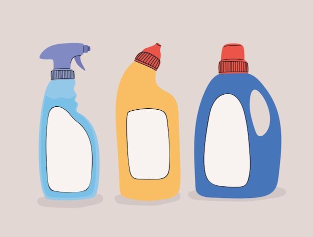 Trzy butelki środka dezynfekującego
