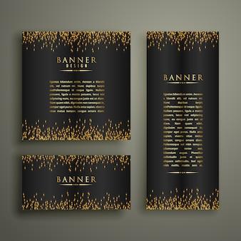 Trzy ciemne banery z brokatem lub blaskiem