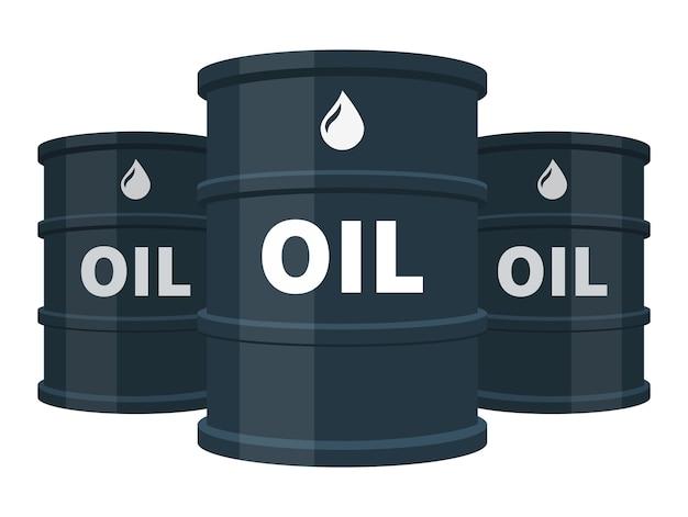Trzy czarne beczki oleju na białym tle