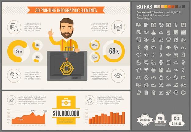 Trzy d druku płaski projekt infographic szablon